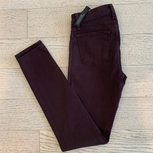 J Brand Wine/Burgundy Denim Mid Rise Super Skinny